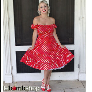 Red and white polka dot dress pin up