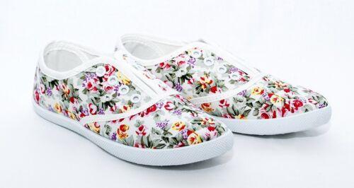 Girls canvas flower Slip On Flat Pumps shoes 11.5-2.5 UK 30-35 EU