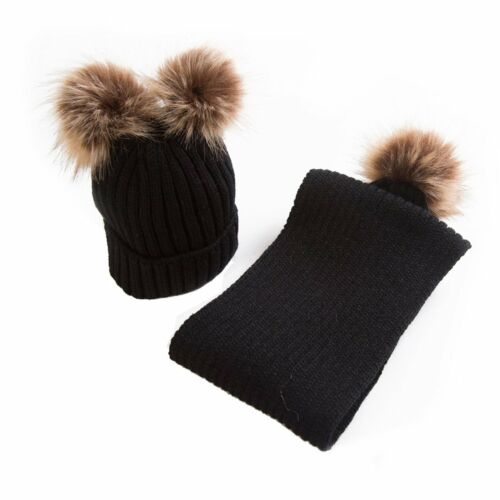 2PCS Toddler Girls Boys Baby Warm Winter Knit Beanie Fur Pom Hat Crochet Ski Cap