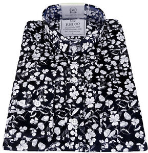 bd3d925a07d Image is loading Relco-Mens-Floral-Flower-Shirt-Platinum-Collection-Navy-