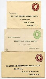 GB KG5 STATIONERY ENVELOPES LIMMER TRINIDAD ASPHALT + COUNTY FIRE + VOC PRINTED