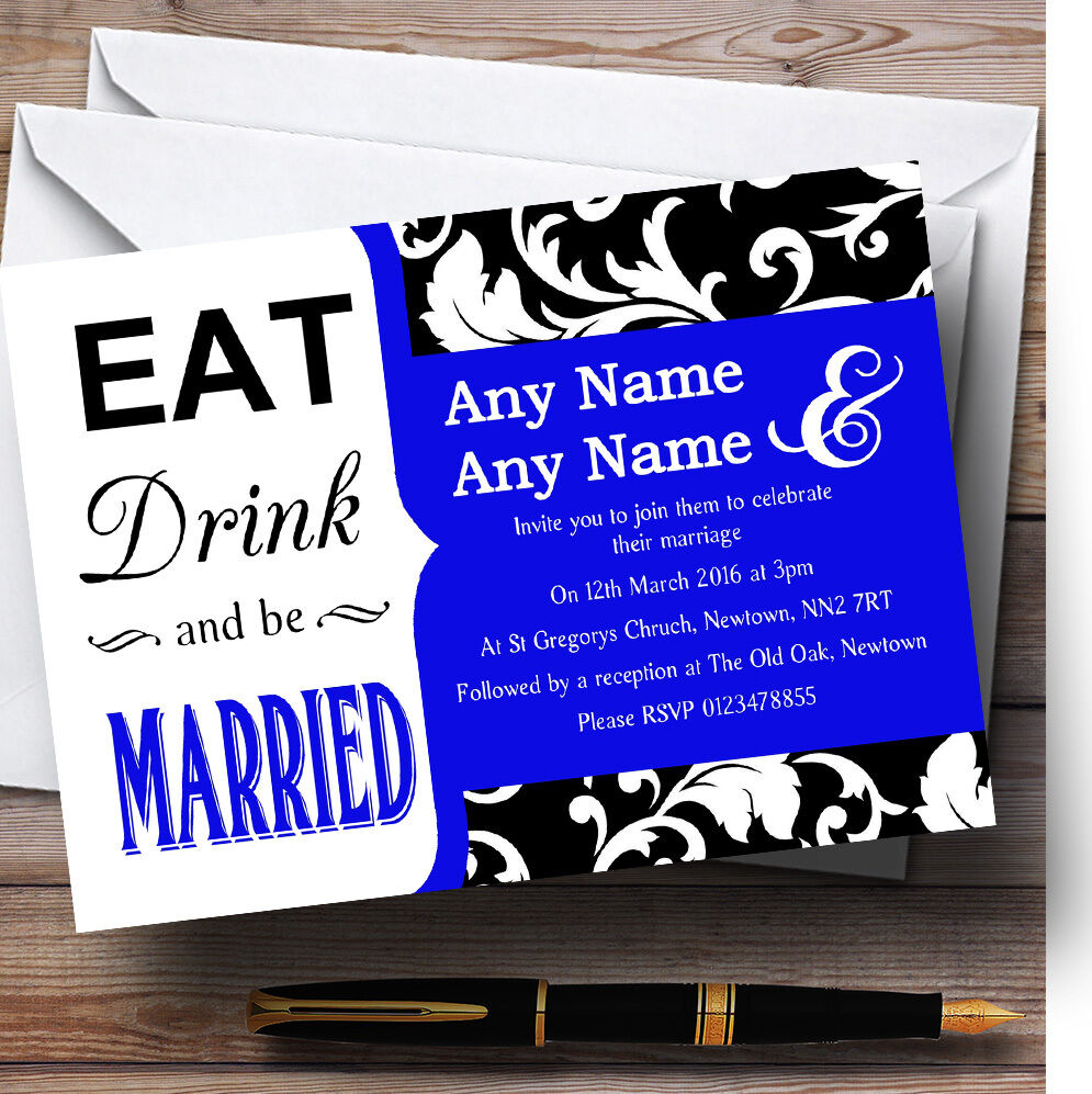 Eat Drink Damask Royal Blau Personalised Wedding Invitations
