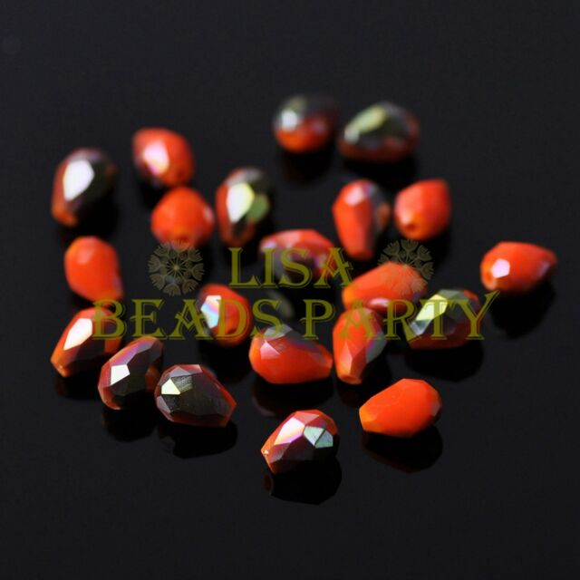 New 100pcs 5X3mm Teardrop Crystal Glass Spacer Loose Beads Opaque Orange&Green