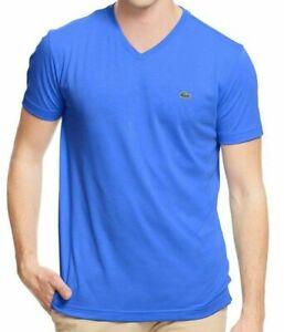 Lacoste-Men-039-s-Sport-Premium-Pima-Cotton-V-Neck-Shirt-T-Shirt-Laser-Blue
