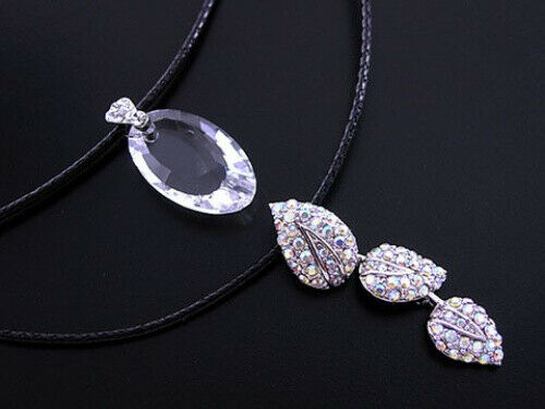 Señora collar cadena de cuero con las hojas de cristal plata nuevo