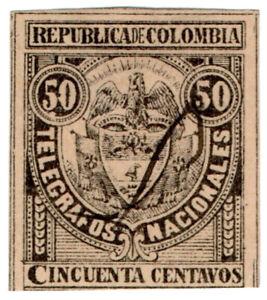 (I.B) Colombia Telegraphs : 50c Black (1888)