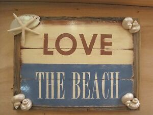 The Beach 034 Sign Coastal Home Decor Beach Sign Wooden Sign Seashells