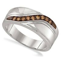 Men's .925 Sterling Silver Round Chocolate Brown Diamond Ring Band .25ct