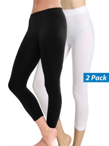 2-Pack Women Basic Solid Stretch Capri Leggings Skinny Slim Fit XS Small Medium