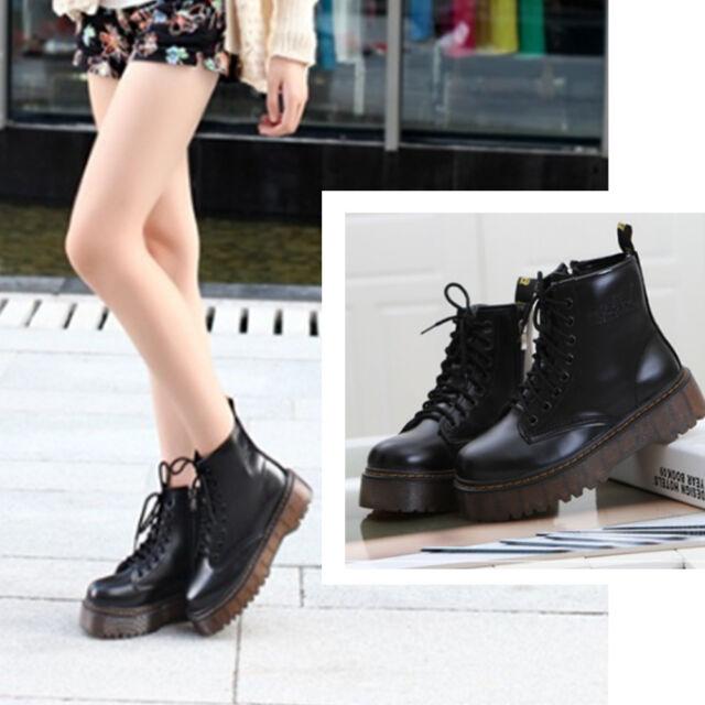 42dc54c1dc0 Women's Motorcycle Punk Martin Boots Platform Ankle Boots Autumn Winter  Shoes