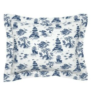 Blue And White Chinoiserie Toile Willow Chinese Pillow Sham by Roostery