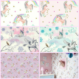 Image Is Loading Unicorn Wallpaper Pink Fairy Castle Mystical Fairytale Cute