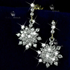 18k-yellow-white-gold-made-with-SWAROVSKI-crystal-stud-snowflake-earrings-dangle
