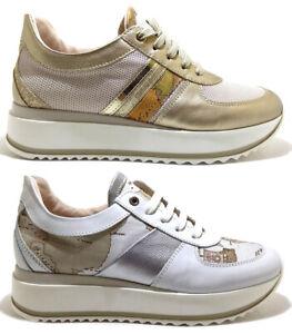 ALVIERO-MARTINI-1-CLASSE-Junior-Geo-scarpe-sneakers-donna-pelle-zeppa-tacco