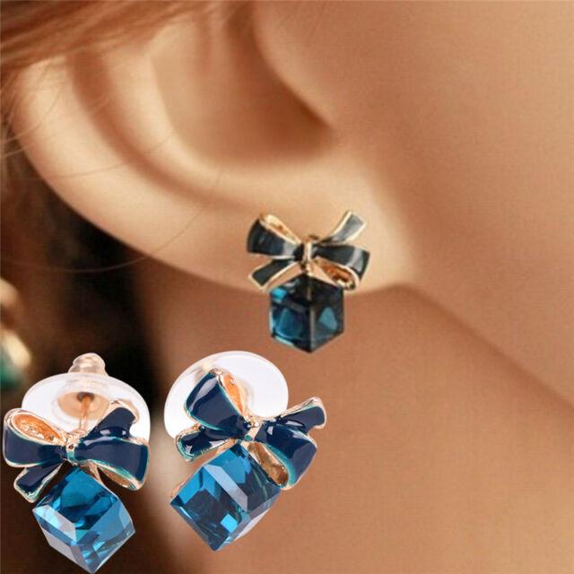 Blue Crystal Rhinestone Enamel Bow Ear Stud Bowknot Earring Gift Women Jewelry .