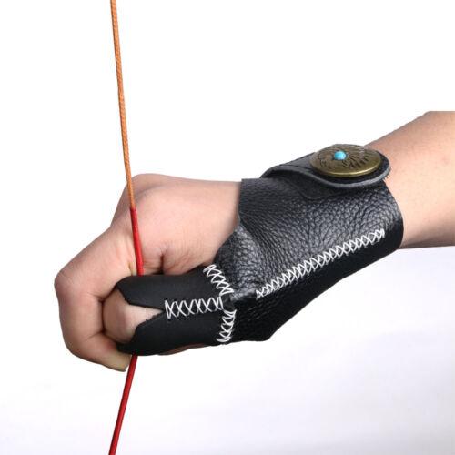 Bogenschießen Fingerschutz Tabs Kuh-Leder Einstellbar Handgefertigt Rechte Hand