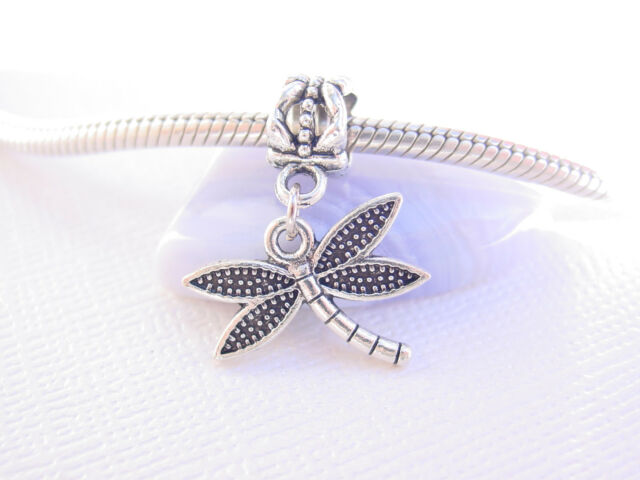Cute 3D Silver Tone Dragonfly Bug Slider Clip on Dangle Charm fits Euro Bracelet