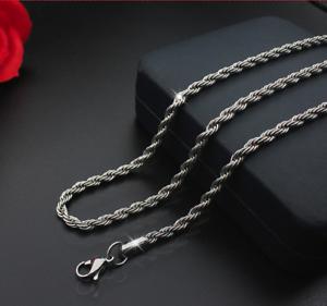 feine-Silberkette-duenne-2MM-Kordelkette-50cm-Edelstahl-Panzerkette-Damen-Herren