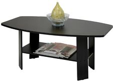 Wooden Living Room Coffee Table Modern Home Furniture Storage Shelf Black
