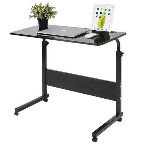 PC Computer Desk Writing Study Table Office Home Workstation Teak Wooden /& Metal