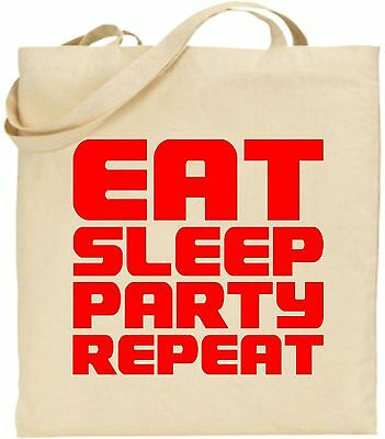 Eat Sleep Party Wiederholen Sie Die Groß Baumwolltasche Einkaufstasche Rave