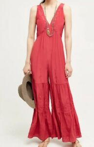 Anthropologie Wide Small Embroidered Silk New Leg Jumpsuit Size 1fq7gOxw