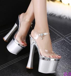 Transparente Arte Tacón alto plata mujer Zapatos de Sandalias niña sexy de de wO80nvmN
