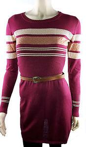 Kleid-Tunika-Feinstrick-Minikleid-Damenstrick-Gestreift-Kaminrot-Ajour-36-38-40