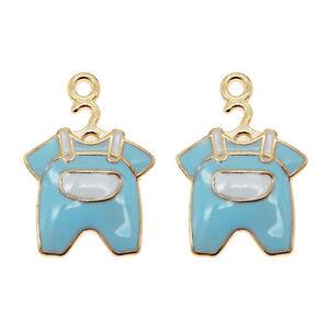 15pcs-Blue-amp-Gold-Enamel-Alloy-Baby-Clothes-Shaped-Charms-Pendants-Crafts-53400