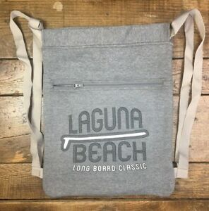 NWOT-LAGUNA-BEACH-Drawstring-Sweatshirt-Backpack-Bag-Long-Board-Classic-C2