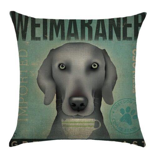 Vintage Dog Poster Pillow Case Linen Throw Cushion Cover Car Sofa Home Decor