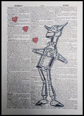 10th Wedding Anniversary Gift Idea Tin Man Print Vintage Dictionary Wall Art Ebay