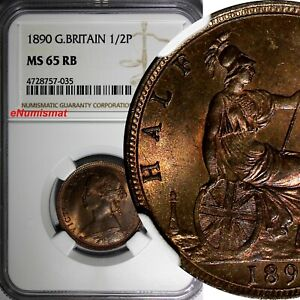 Great-Britain-Victoria-1837-1901-Bronze-1890-1-2-Penny-NGC-MS65-RB-RED-KM-754