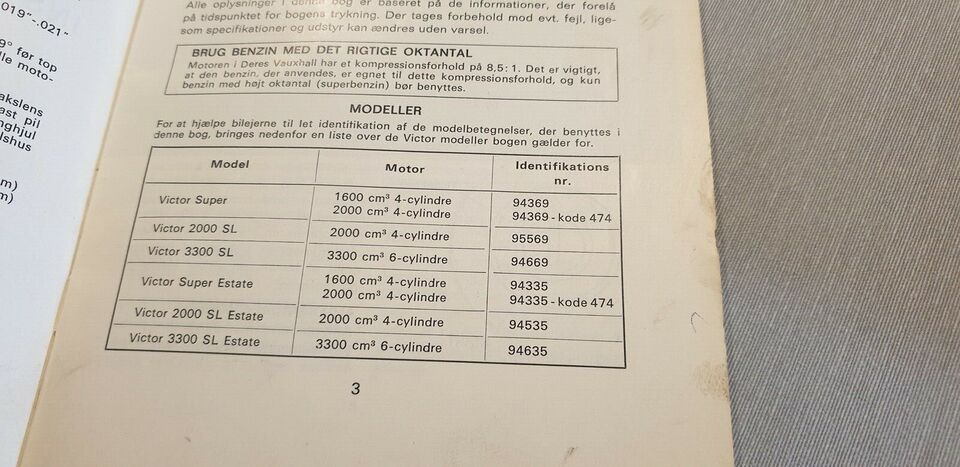 Instruktionsbog, Vauxhall Victor
