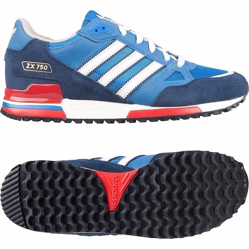 Adidas Originals Zx 750 Scarpe Sportive Uomo Blu Reale Numeri UK da 7 a 12