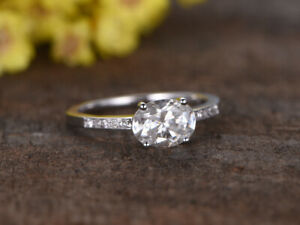 1.62 Ct Oval Cut Moissanite Engagement Ring 18K Solid White Gold ring Size 5 6