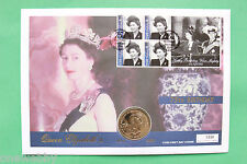 2001 Queens 75th Birthday Gibraltar cover stamps & 1 Crown coin SNo27053