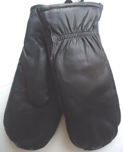 Genuine Leather Mittens With Finger Slots Black