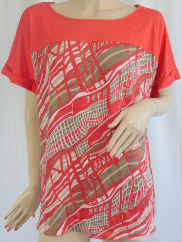 Anya Madsen tunique chemisier rouge kurzgröße Long Shirt L 18-XL 22