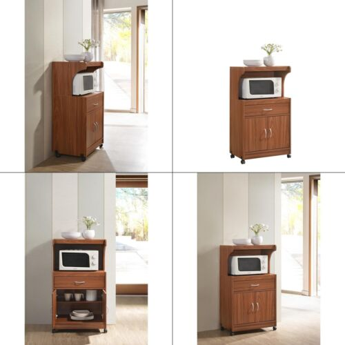 Hodedah Microwave Cart with One Drawer Two Doors and Shelf Storage Cherry New