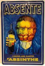 Absente Absinthe Embossed Vintage Steel Sign Bar Pub Club Kitchen Home Office