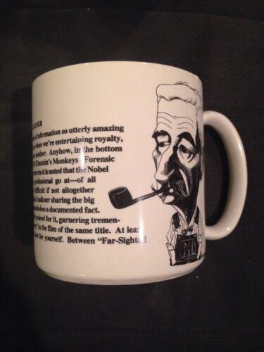 New Rare William Faulkner Largely Literary Caricature Coffee Mug Cup W// Orig Box