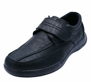 MENS-BLACK-TOUCH-STRAP-COMFY-LIGHTWEIGHT-SMART-CASUAL-LOAFERS-DECK-SHOES-6-12