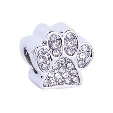 Spacer Silver Dog Paw CZ Rhinestones Big Hole Beads Fit European Charm Bracelet