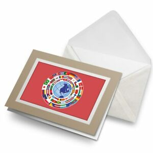 Greetings-Card-Biege-Earth-Globe-Flags-Map-Travel-9307