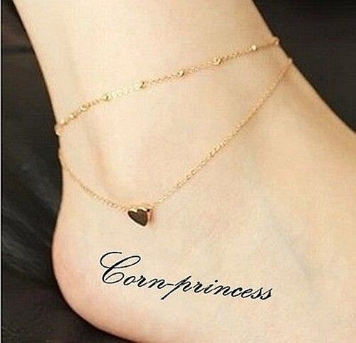 18K Gold Plated Titanium Steel Love Heart Ankle Bracelet Double Layer Chain USPS