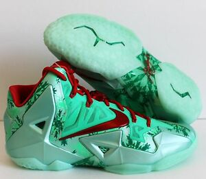 sneakers for cheap 0dbc5 f99ce Image is loading NIKE-LEBRON-XI-11-CHRISTMAS-GREEN-GLOW-LIGHT-