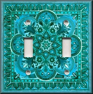 Metal Light Switch Plate Cover - Italian Tile Pattern Teal Turquoise Blue Decor