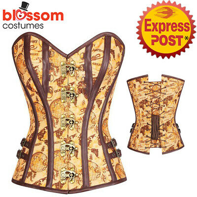 CC59 Steampunk Brocade Boned Corset Brown Victorian Gothic Halloween Costume