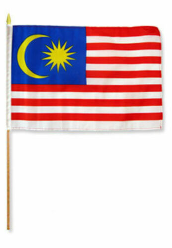 "12x18 12/""x18/"" Malaysia Stick Flag wood staff"